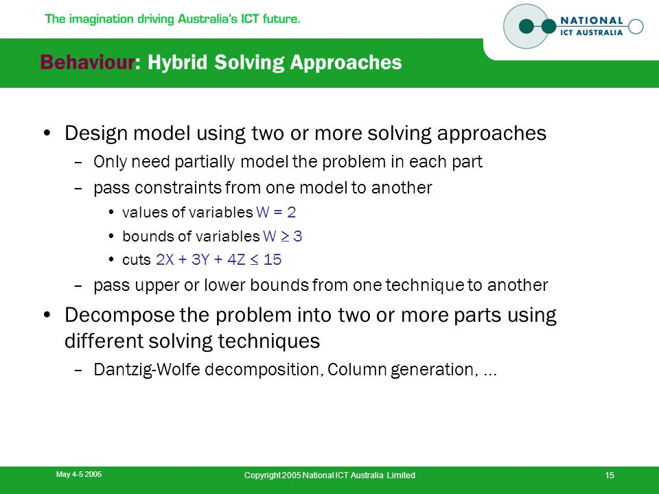 May 4-5 2005 Copyright 2005 National ICT Australia Limited15 Behaviour: Hybrid Solving Approaches Design model using two or more solving approaches –O