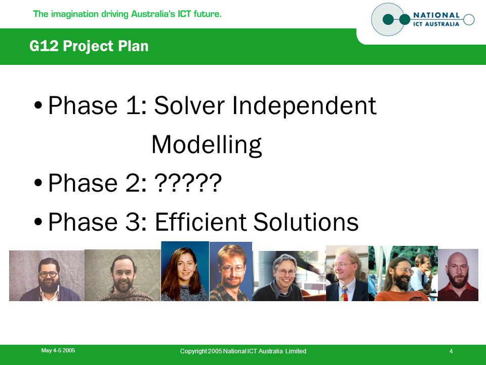 May 4-5 2005 Copyright 2005 National ICT Australia Limited4 G12 Project Plan Phase 1: Solver Independent Modelling Phase 2: ????? Phase 3: Efficient S