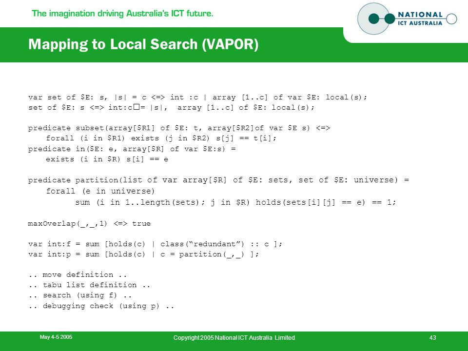 May 4-5 2005 Copyright 2005 National ICT Australia Limited43 Mapping to Local Search (VAPOR) var set of $E: s, |s| = c int :c | array [1..c] of var $E