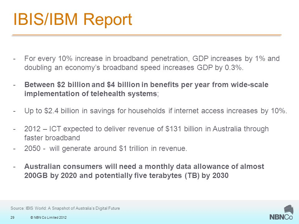 © NBN Co Limited 201229 IBIS/IBM Report -For every 10% increase in broadband penetration, GDP increases by 1% and doubling an economy's broadband speed increases GDP by 0.3%.