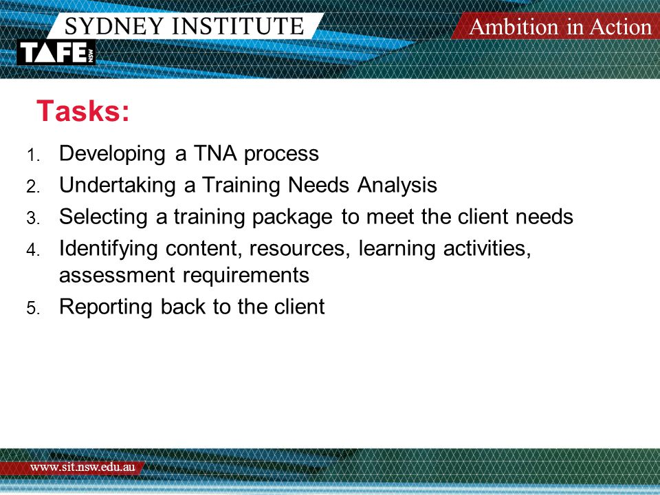 Ambition in Action www.sit.nsw.edu.au Tasks: 1. Developing a TNA process 2.