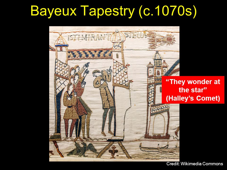 Bayeux Tapestry (c.1070s) Credit: Wikimedia Commons They wonder at the star (Halley's Comet)