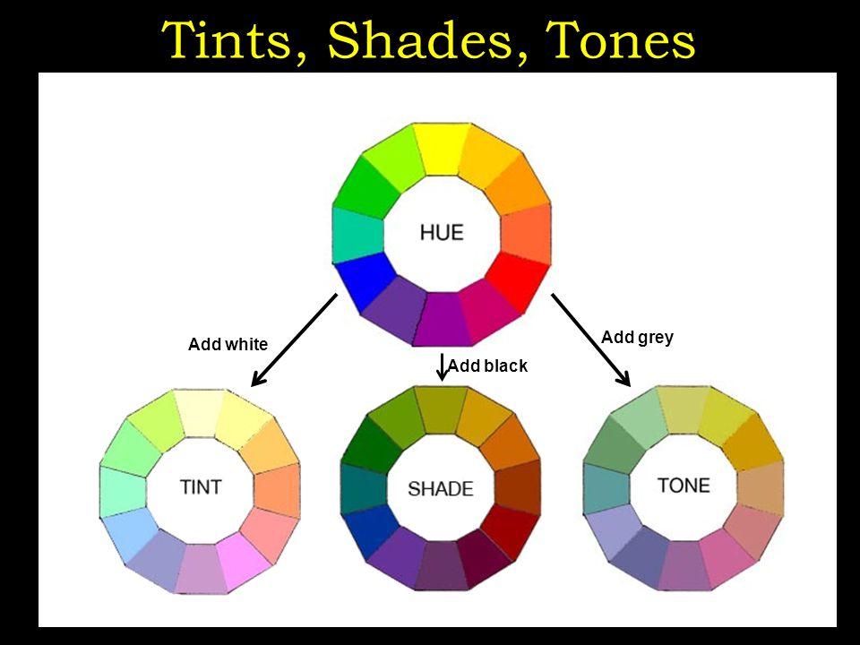 Tints, Shades, Tones http://www.color-wheel-artist.com/hue.html Add white Add black Add grey