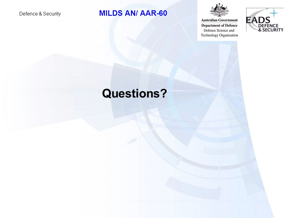 Defence & Security MILDS AN/ AAR-60 Questions?