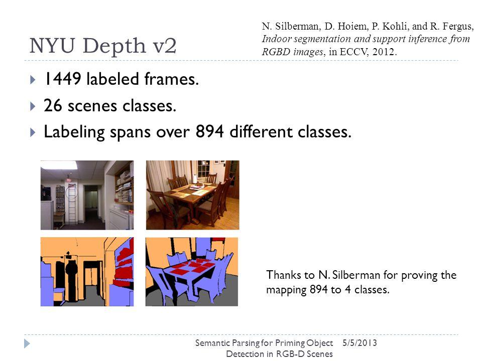 NYU Depth v2 5/5/2013  1449 labeled frames.  26 scenes classes.  Labeling spans over 894 different classes. N. Silberman, D. Hoiem, P. Kohli, and R