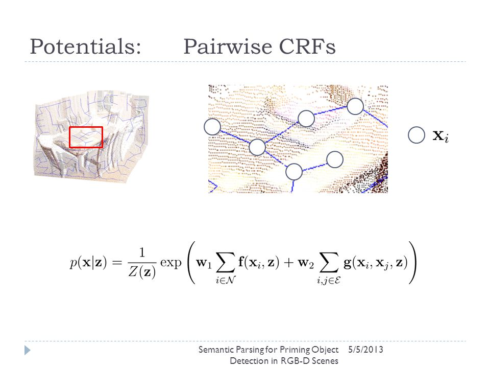 Potentials: Pairwise CRFs 5/5/2013Semantic Parsing for Priming Object Detection in RGB-D Scenes
