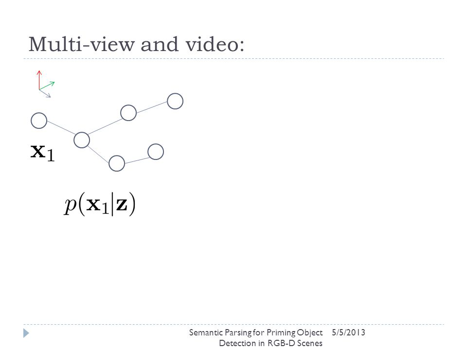 Multi-view and video: 5/5/2013Semantic Parsing for Priming Object Detection in RGB-D Scenes