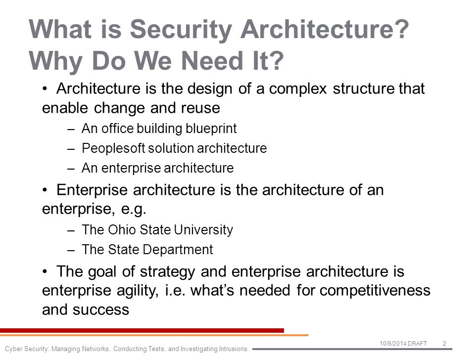 What is Security Architecture. Why Do We Need It.