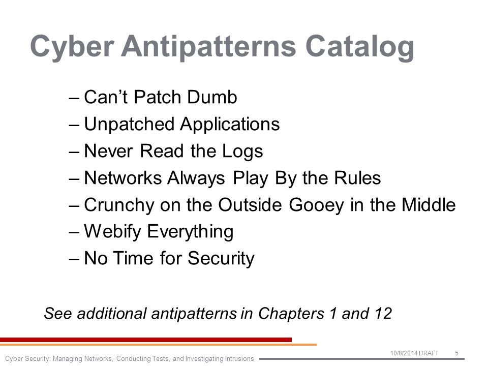 Cyber Antipatterns Catalog –Can't Patch Dumb –Unpatched Applications –Never Read the Logs –Networks Always Play By the Rules –Crunchy on the Outside Gooey in the Middle –Webify Everything –No Time for Security See additional antipatterns in Chapters 1 and 12 10/8/2014 DRAFT5 Cyber Security: Managing Networks, Conducting Tests, and Investigating Intrusions