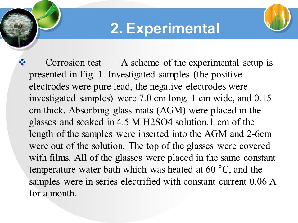 2. Experimental  Corrosion test——A scheme of the experimental setup is presented in Fig.