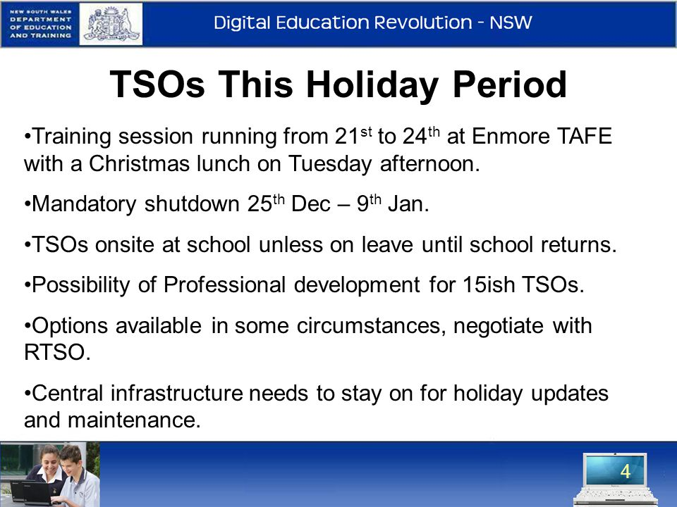 4 TSOs This Holiday Period Training session running from 21 st to 24 th at Enmore TAFE with a Christmas lunch on Tuesday afternoon.