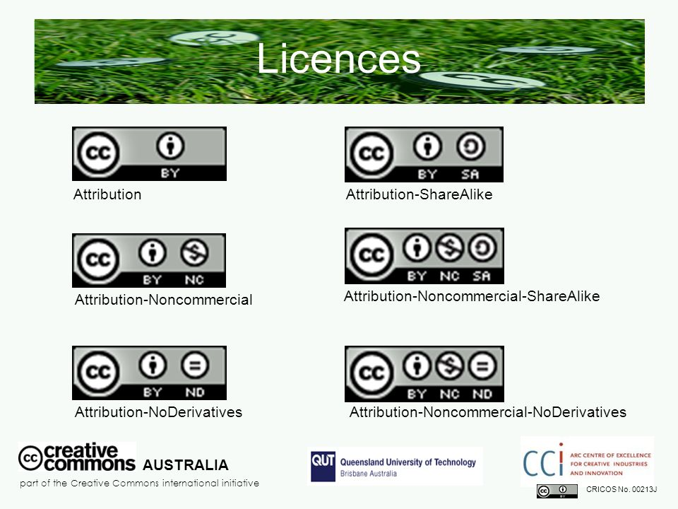 Attribution-ShareAlike Licences Attribution AUSTRALIA part of the Creative Commons international initiative CRICOS No.