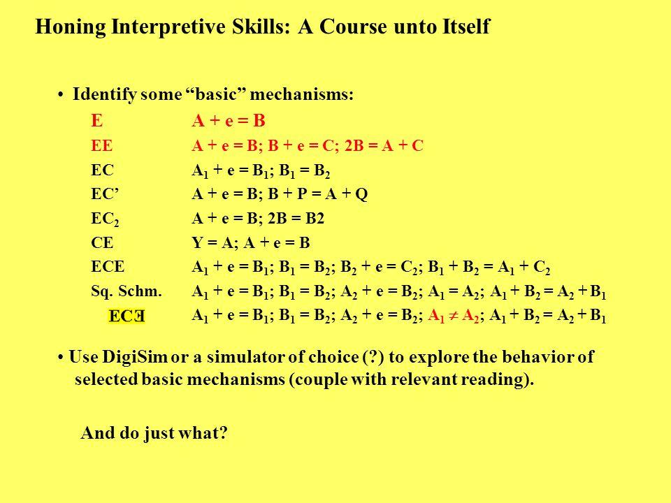 "Honing Interpretive Skills: A Course unto Itself Identify some ""basic"" mechanisms: E A + e = B EE A + e = B; B + e = C; 2B = A + C EC A 1 + e = B 1 ;"