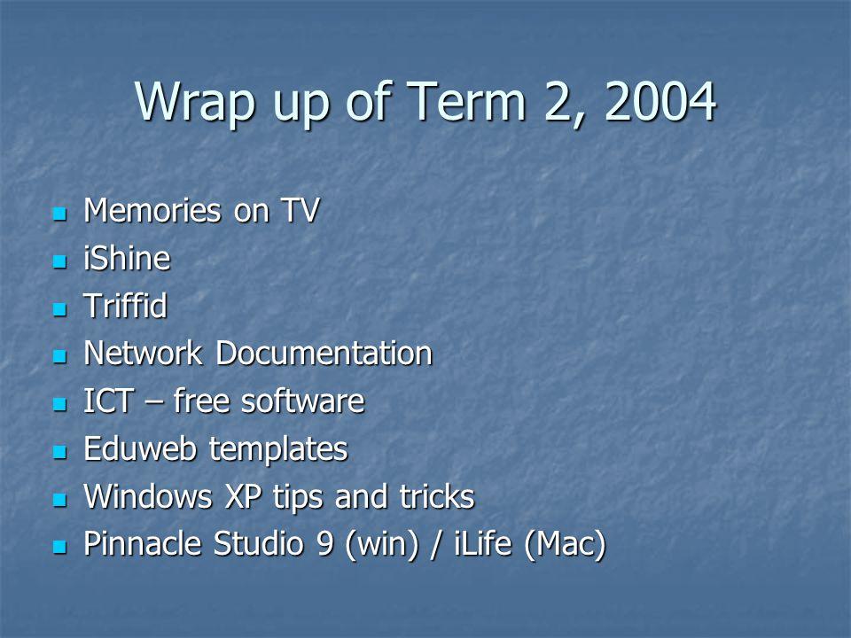 Wrap up of Term 2, 2004 Memories on TV Memories on TV iShine iShine Triffid Triffid Network Documentation Network Documentation ICT – free software ICT – free software Eduweb templates Eduweb templates Windows XP tips and tricks Windows XP tips and tricks Pinnacle Studio 9 (win) / iLife (Mac) Pinnacle Studio 9 (win) / iLife (Mac)