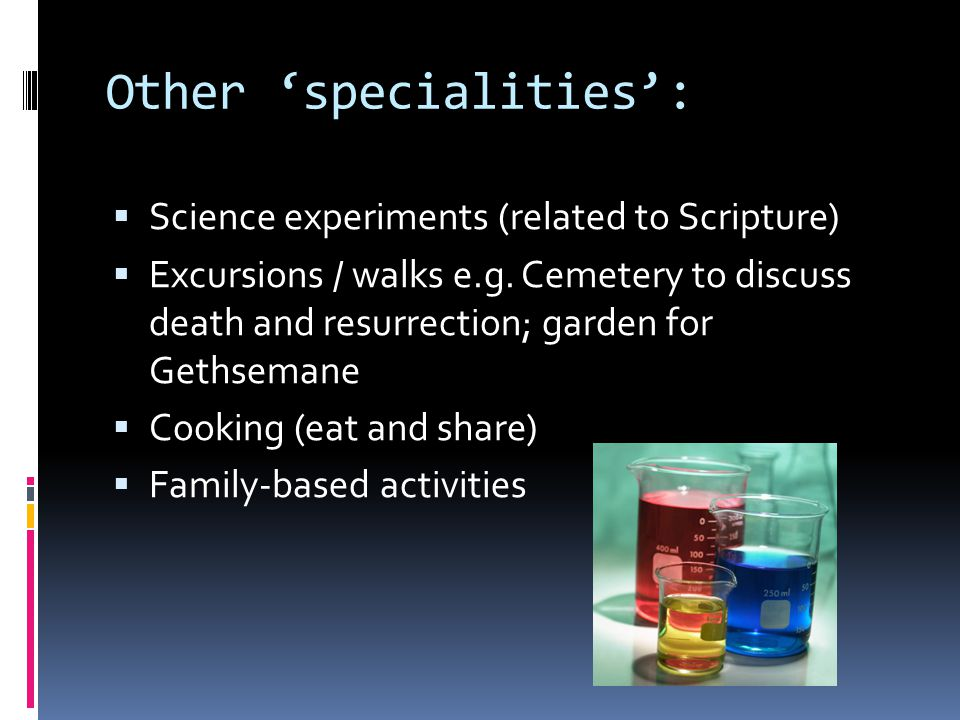 Other 'specialities':  Science experiments (related to Scripture)  Excursions / walks e.g.