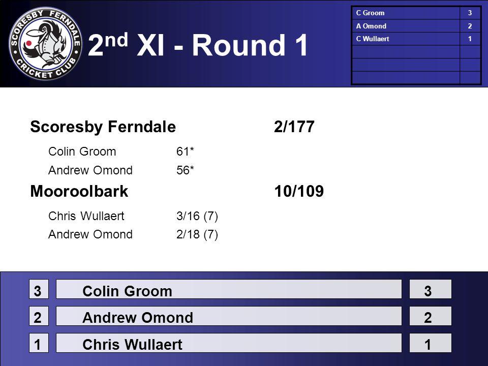 2 nd XI - Round 1 Scoresby Ferndale2/177 Colin Groom61* Andrew Omond56* Mooroolbark10/109 Chris Wullaert3/16 (7) Andrew Omond2/18 (7) C Groom3 A Omond2 C Wullaert1 3Colin Groom3 2Andrew Omond2 1Chris Wullaert1