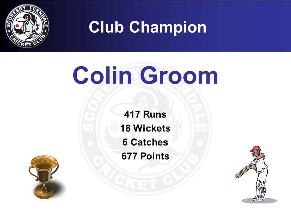 Club Champion Colin Groom 417 Runs 18 Wickets 6 Catches 677 Points