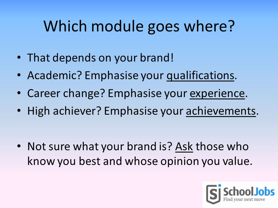 Which module goes where. That depends on your brand.