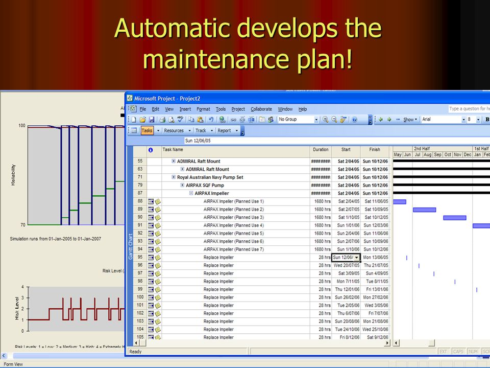 ShipShape® - Capability by Design Automatic develops the maintenance plan!