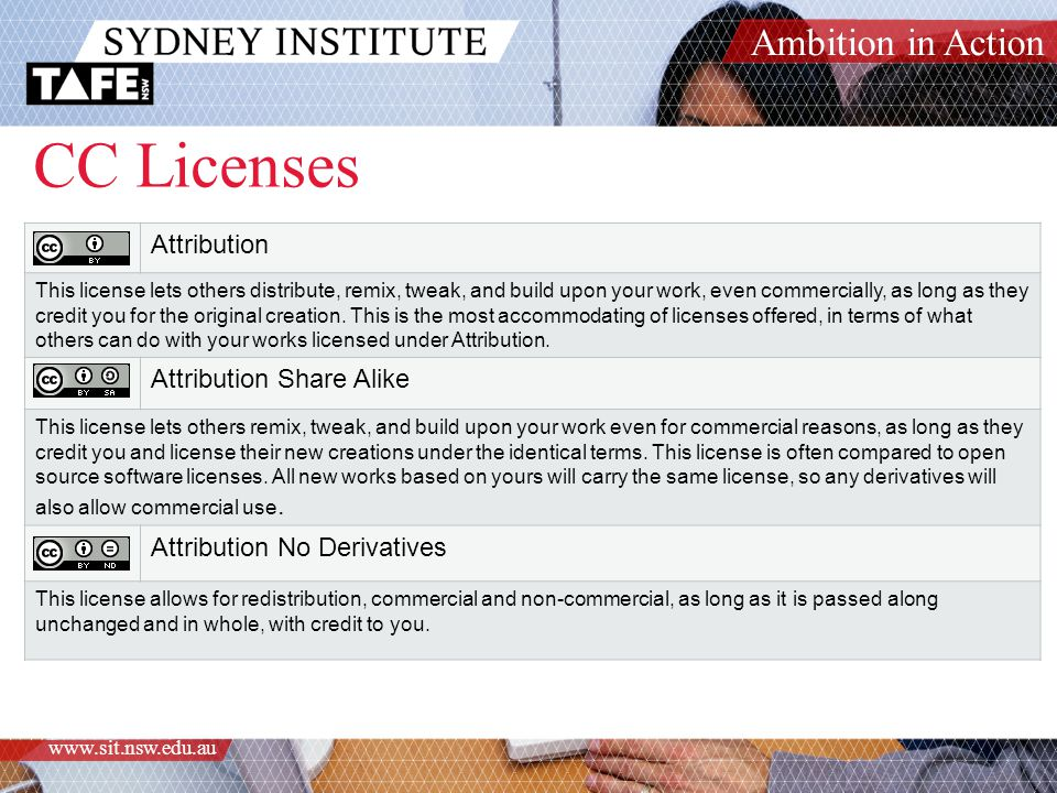 Ambition in Action www.sit.nsw.edu.au CC Licenses Attribution This license lets others distribute, remix, tweak, and build upon your work, even commer