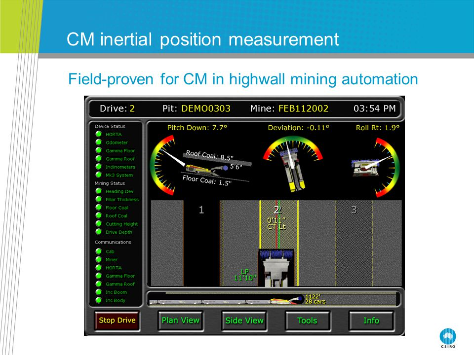 Past mining guidance (inertial) R&D Longwall guidance INS first mounted on shearer by CSIRO in 2002 Independent survey confirmed a 2-3cm 3D position accuracy Sustained performance (not time or distance dependent) Now a commercial product – LASC technology