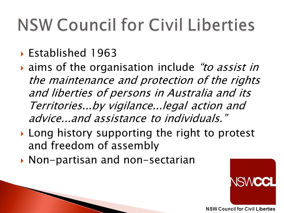 """ Established 1963  aims of the organisation include """"to assist in the maintenance and protection of the rights and liberties of persons in Australia"""
