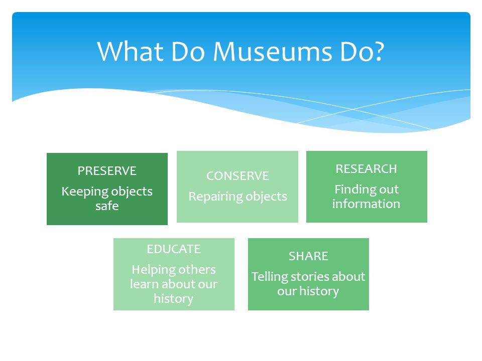 PRESERVE Keeping objects safe RESEARCH Finding out information CONSERVE Repairing objects EDUCATE Helping others learn about our history SHARE Telling stories about our history What Do Museums Do