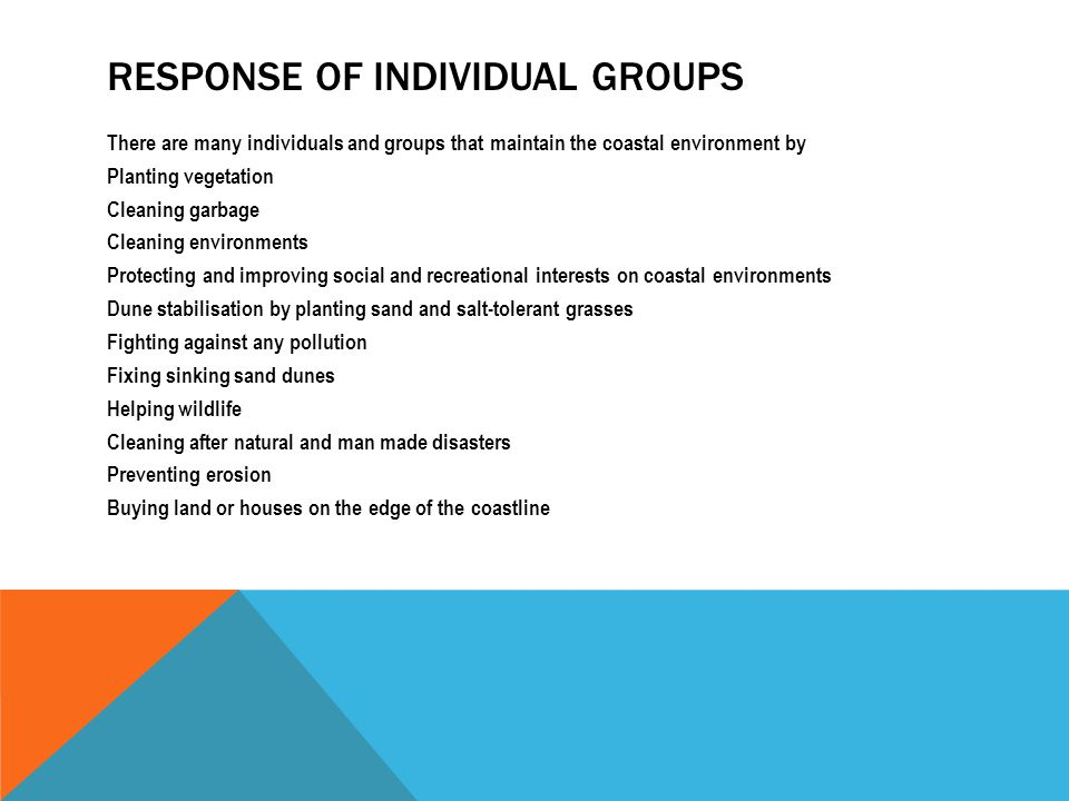 RESPONSE OF INDIVIDUAL GROUPS There are many individuals and groups that maintain the coastal environment by Planting vegetation Cleaning garbage Clea
