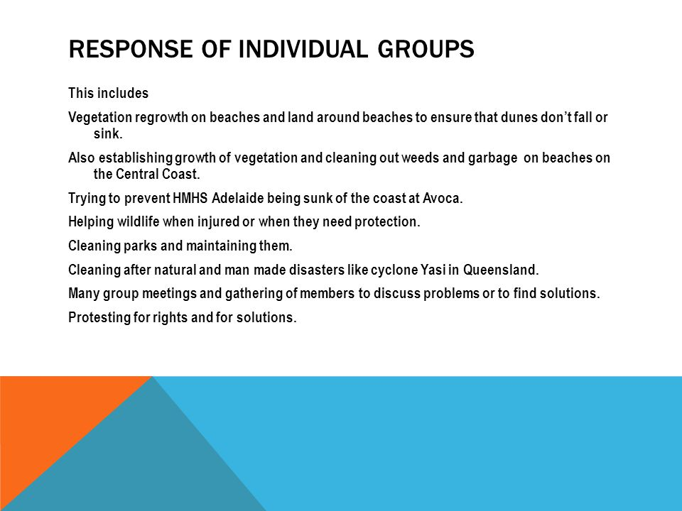 RESPONSE OF INDIVIDUAL GROUPS This includes Vegetation regrowth on beaches and land around beaches to ensure that dunes don't fall or sink. Also estab
