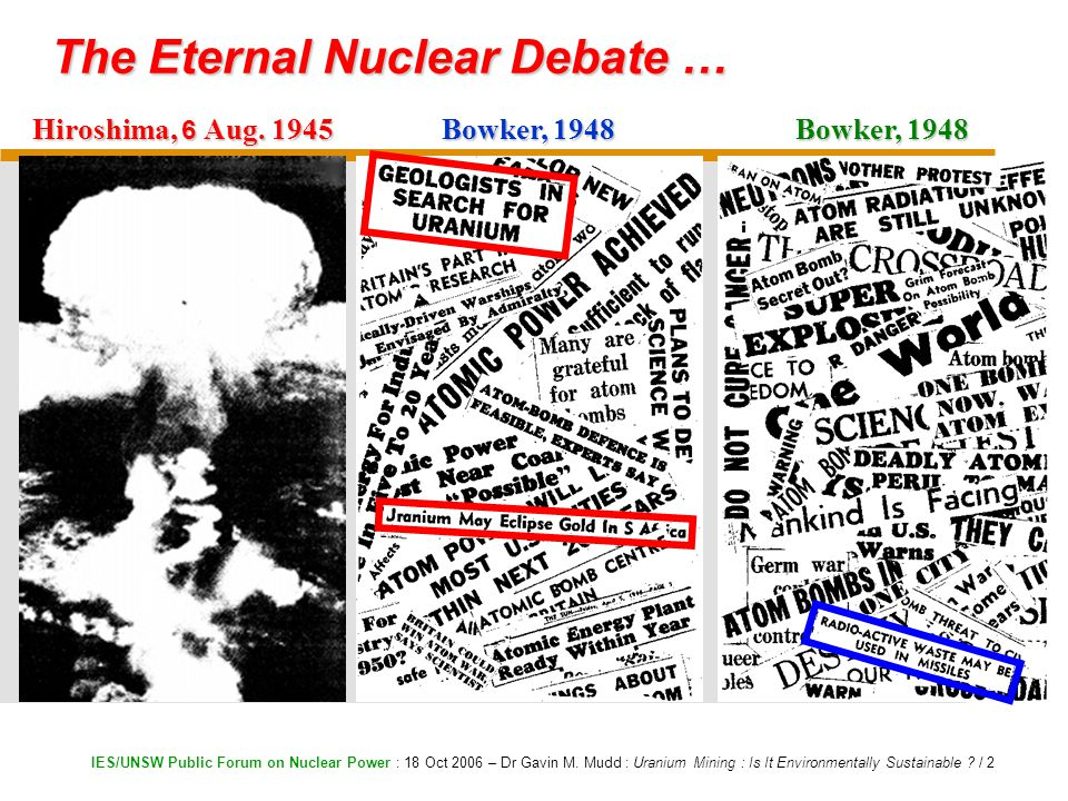 IES/UNSW Public Forum on Nuclear Power : 18 Oct 2006 – Dr Gavin M.