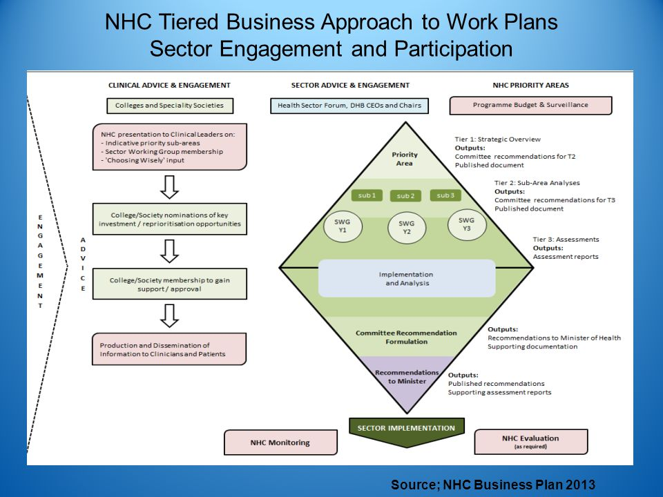 NHC Tiered Business Approach to Work Plans Sector Engagement and Participation Source; NHC Business Plan 2013