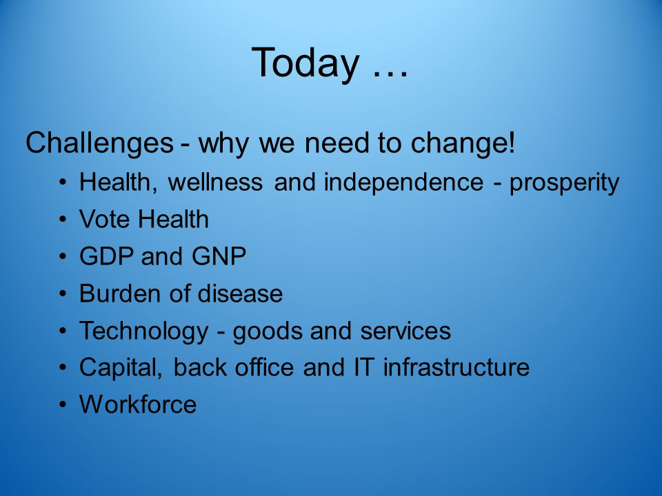 Today … Challenges - why we need to change! Health, wellness and independence - prosperity Vote Health GDP and GNP Burden of disease Technology - good