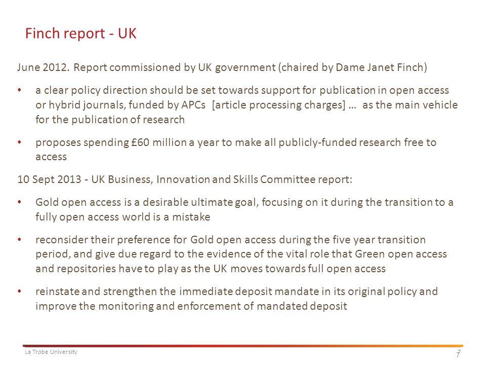 7La Trobe University 7 Finch report - UK June 2012.