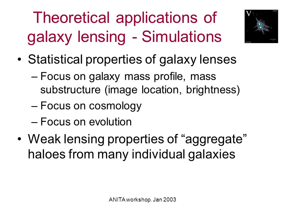 ANITA workshop. Jan 2003 Theoretical applications of galaxy lensing - Simulations Statistical properties of galaxy lenses –Focus on galaxy mass profil