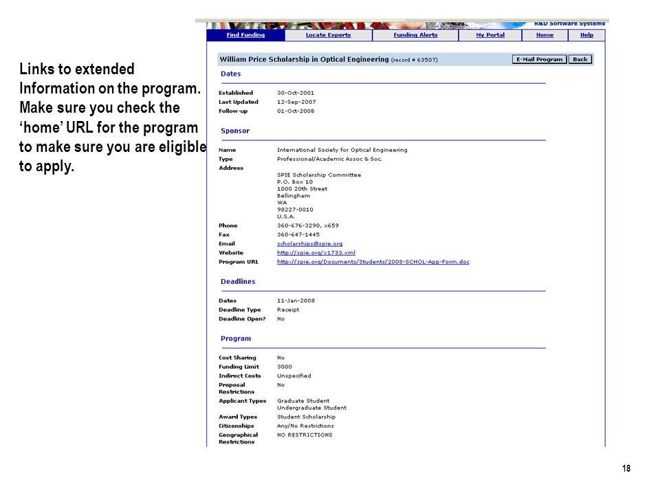 18 Links to extended Information on the program.