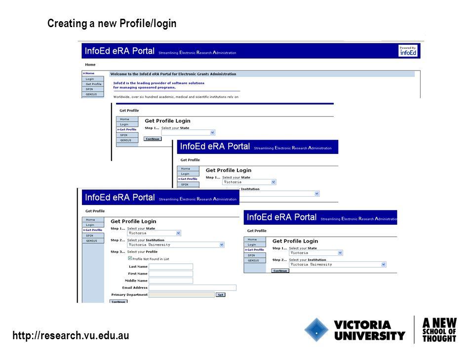 3 Creating a new Profile/login