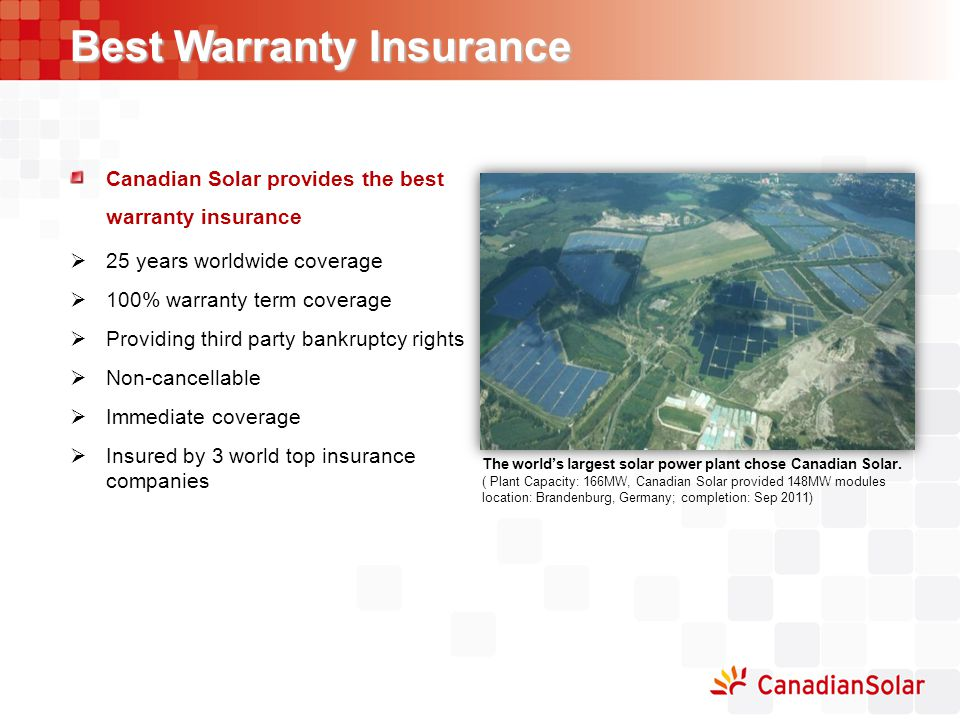 Best Warranty Insurance Canadian Solar provides the best warranty insurance  25 years worldwide coverage  100% warranty term coverage  Providing th