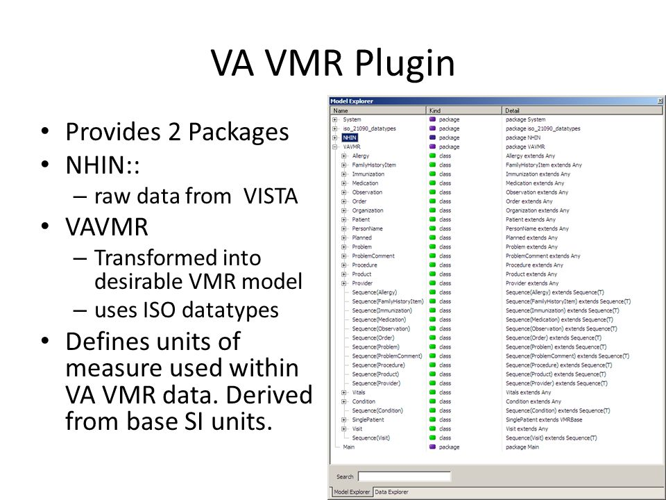 VA VMR Plugin Provides 2 Packages NHIN:: – raw data from VISTA VAVMR – Transformed into desirable VMR model – uses ISO datatypes Defines units of measure used within VA VMR data.
