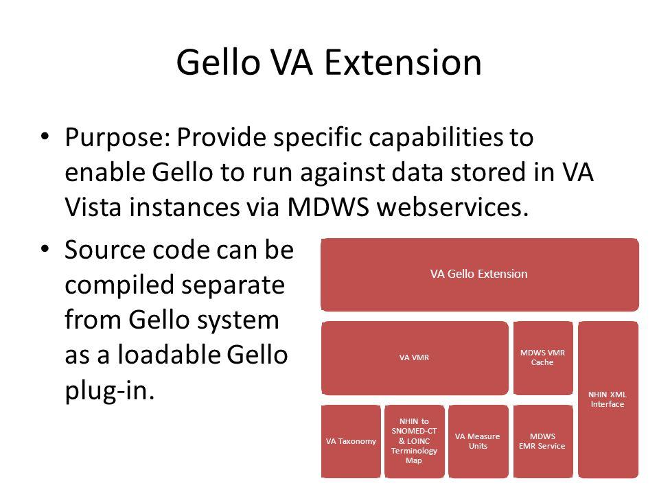 Gello VA Extension Purpose: Provide specific capabilities to enable Gello to run against data stored in VA Vista instances via MDWS webservices. Sourc