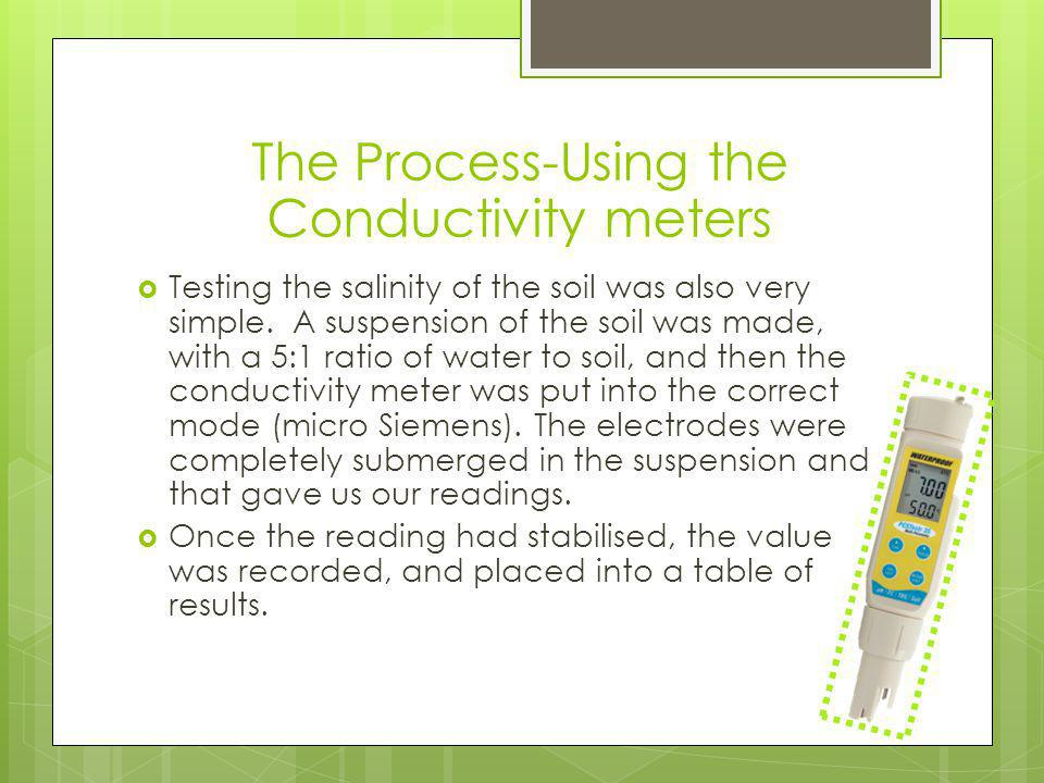  Testing the salinity of the soil was also very simple.