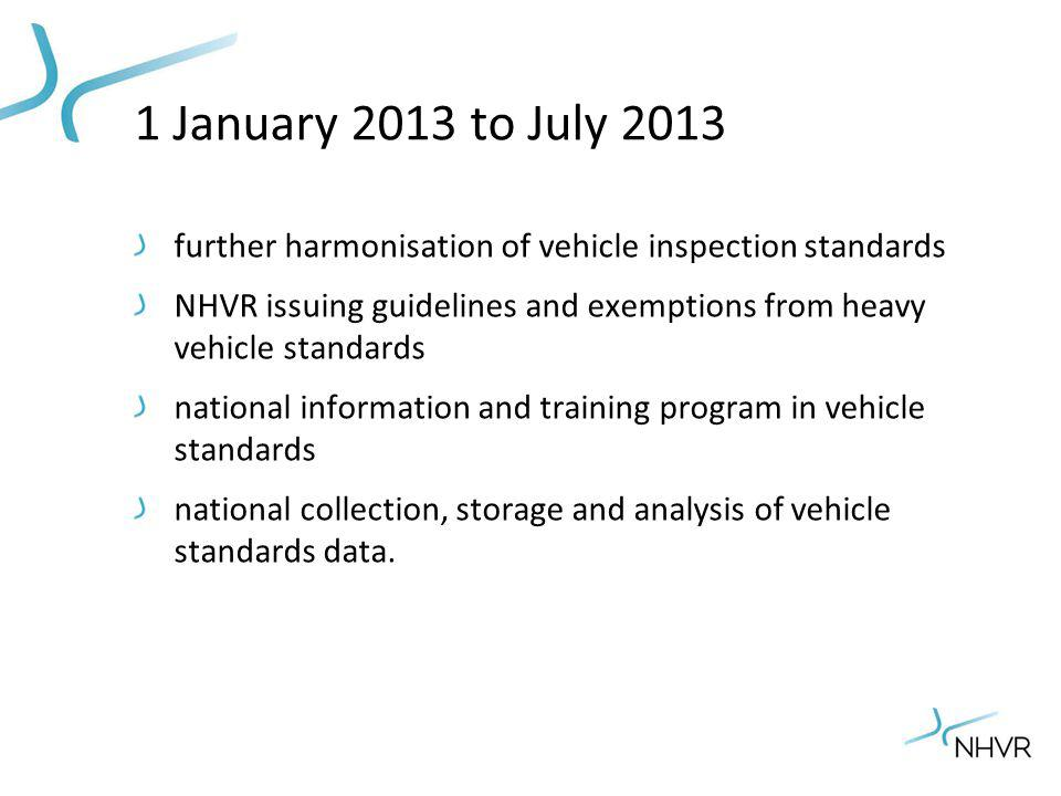 1 January 2013 to July 2013 further harmonisation of vehicle inspection standards NHVR issuing guidelines and exemptions from heavy vehicle standards national information and training program in vehicle standards national collection, storage and analysis of vehicle standards data.