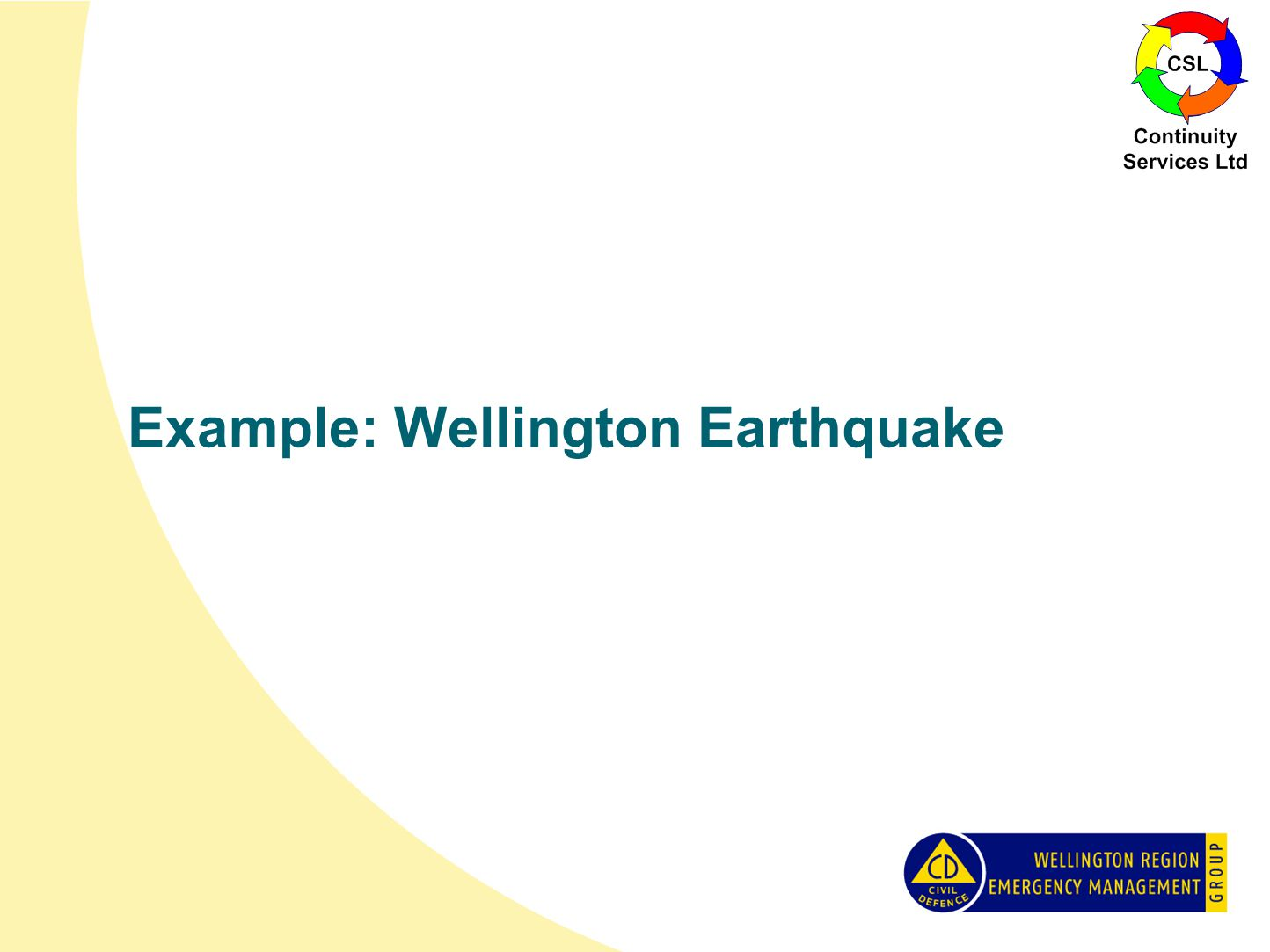 Example: Wellington Earthquake
