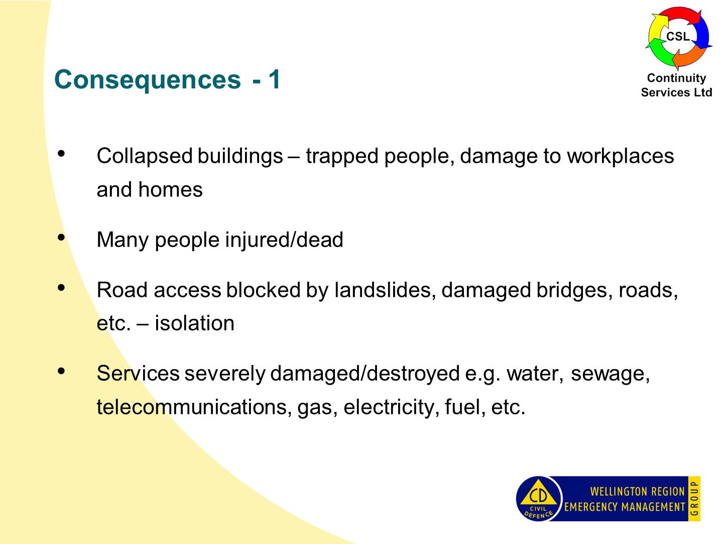 Consequences - 1 Collapsed buildings – trapped people, damage to workplaces and homes Many people injured/dead Road access blocked by landslides, damaged bridges, roads, etc.