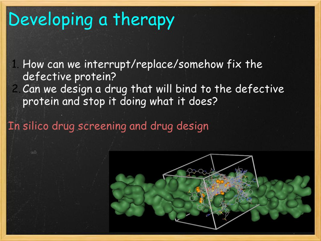 Developing a therapy 1.How can we interrupt/replace/somehow fix the defective protein.
