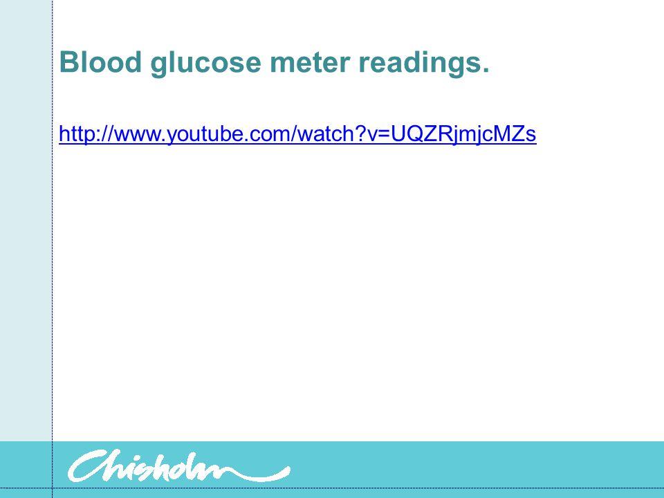 Blood glucose meter readings. http://www.youtube.com/watch?v=UQZRjmjcMZs