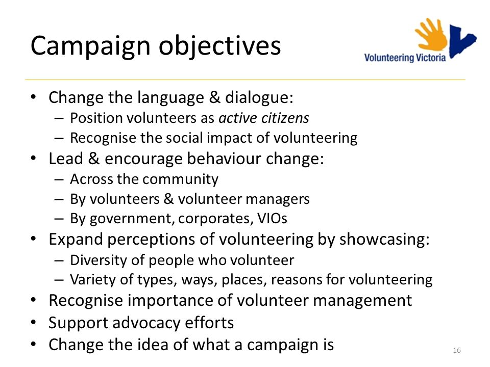 16 Campaign objectives Change the language & dialogue: – Position volunteers as active citizens – Recognise the social impact of volunteering Lead & encourage behaviour change: – Across the community – By volunteers & volunteer managers – By government, corporates, VIOs Expand perceptions of volunteering by showcasing: – Diversity of people who volunteer – Variety of types, ways, places, reasons for volunteering Recognise importance of volunteer management Support advocacy efforts Change the idea of what a campaign is
