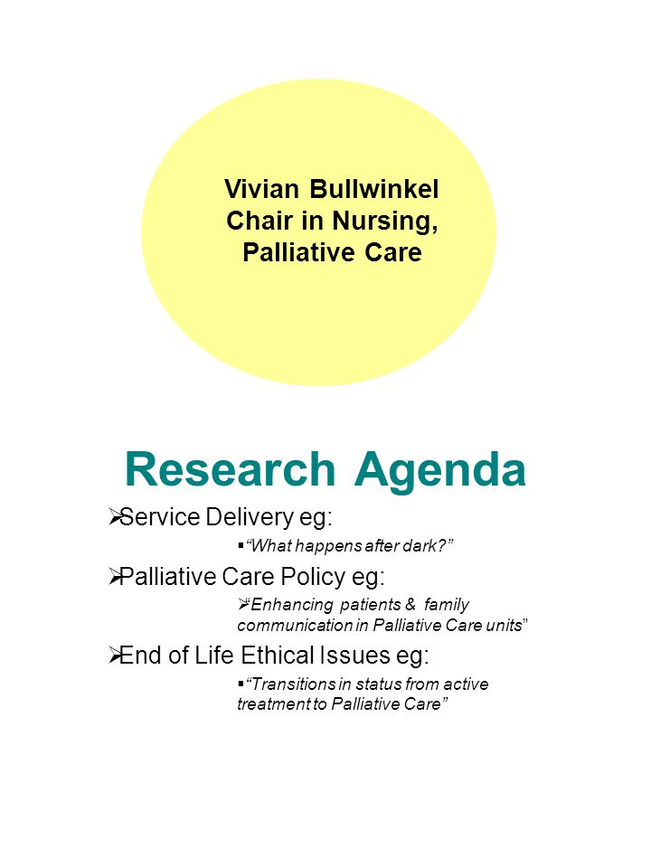 Research Agenda  Service Delivery eg:  What happens after dark  Palliative Care Policy eg:  Enhancing patients & family communication in Palliative Care units  End of Life Ethical Issues eg:  Transitions in status from active treatment to Palliative Care Vivian Bullwinkel Chair in Nursing, Palliative Care