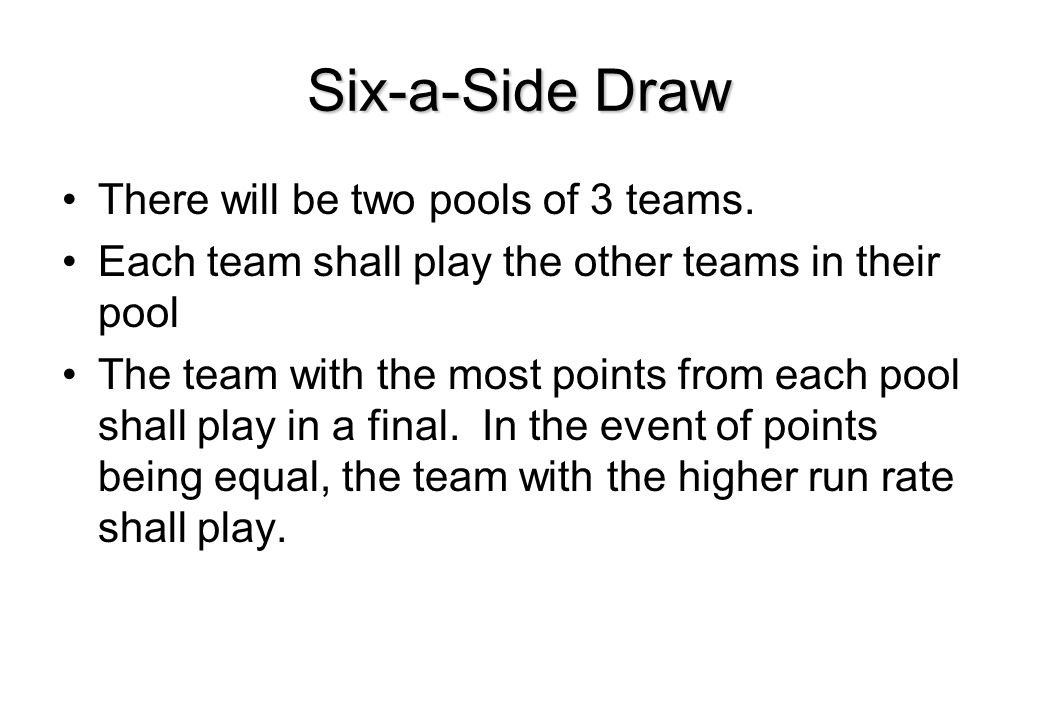 Six-a-Side Draw There will be two pools of 3 teams.