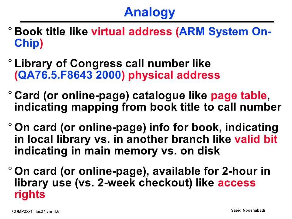 COMP3221 lec37-vm-II.6 Saeid Nooshabadi Analogy °Book title like virtual address (ARM System On- Chip) °Library of Congress call number like (QA76.5.F ) physical address °Card (or online-page) catalogue like page table, indicating mapping from book title to call number °On card (or online-page) info for book, indicating in local library vs.