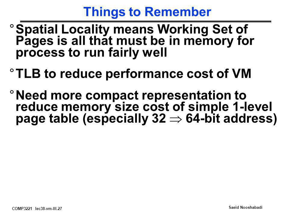 COMP3221 lec38-vm-III.27 Saeid Nooshabadi Things to Remember °Spatial Locality means Working Set of Pages is all that must be in memory for process to